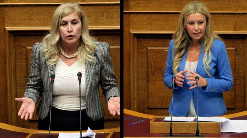 Δείτε δύο (πολιτικές) καρακάξες κάλπικες ξανθιές που το παίζουν γνήσιες Ελληνίδες   να μαλώνουν…