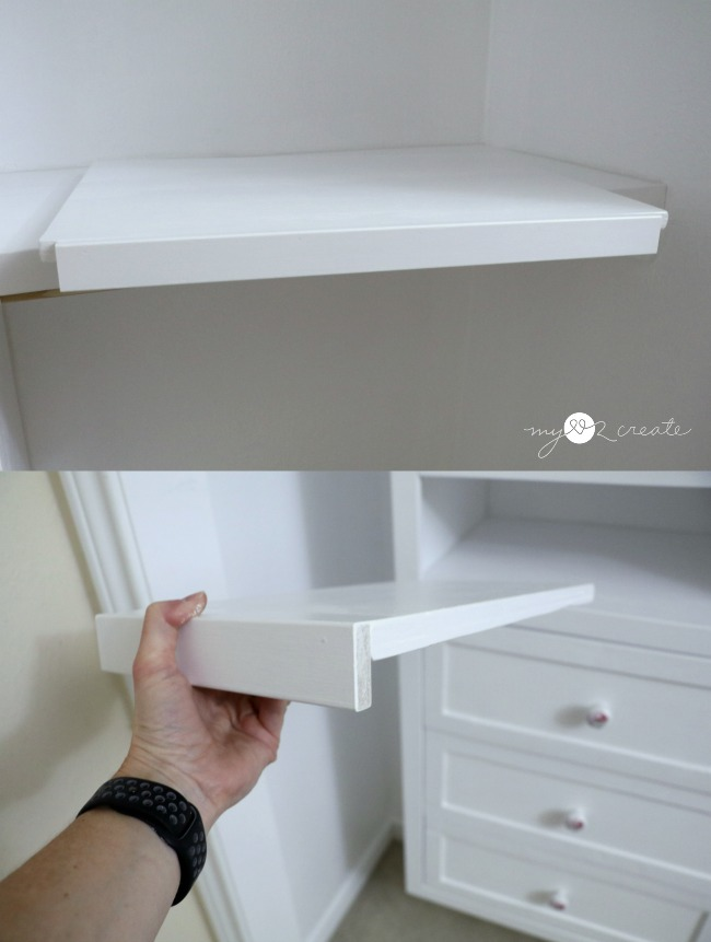 Trimmed adjustable shelve in a closet, MyLove2Create