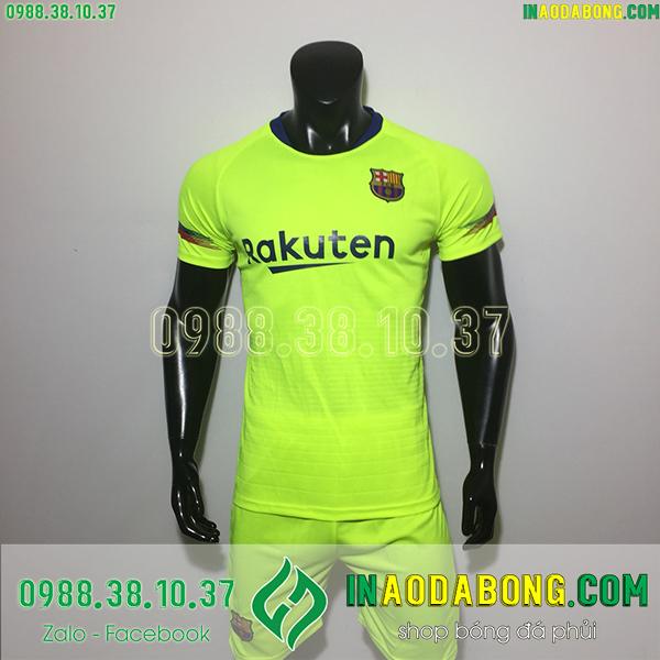Áo bóng đá câu lạc bộ Barcelona màu xanh chuối