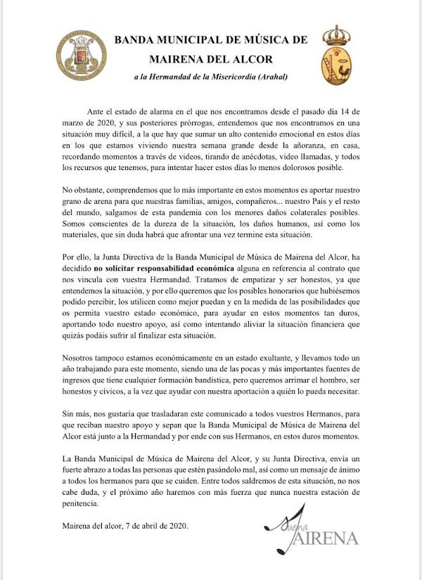 Banda Municipal de Mairena del Alcor enuncia a recibir el importe de su contrato de Semana Santa