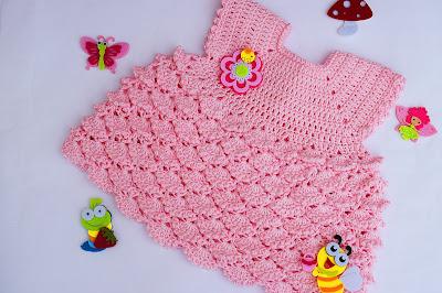 1 - Crochet Imagenes Vestido con abanicos a relieve por Majovel Crochet
