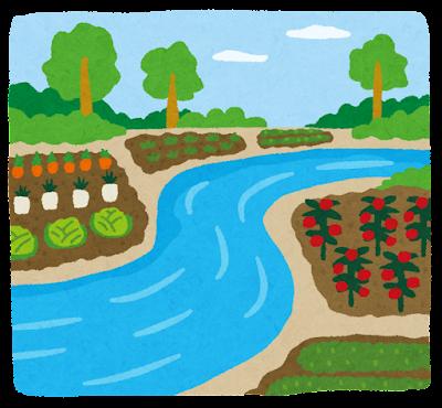 河川敷の畑のイラスト