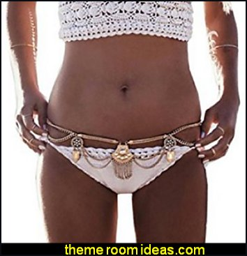 Dangle Coin Belt Dance Tassel  Waist Chain Belt Gypsy womens swimwear beach back bikinis