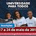 CURSO PREPARATÓRIO GRATUITO PARA VESTIBULAR E ENEM ABRE INSCRIÇÕES DIA 17 DE MAIO.