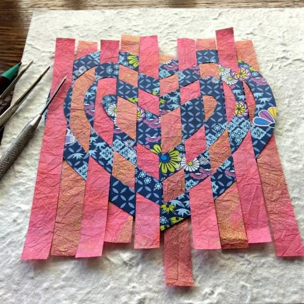 in-progress weaving a paper heart Valentine