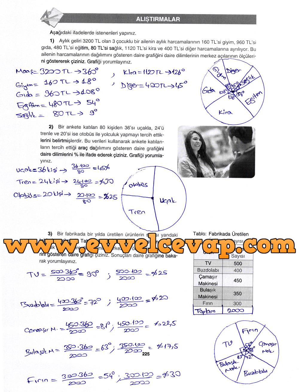 7. Sınıf Gizem Yayınları Matematik Ders Kitabı 225. Sayfa Cevapları Daire Grafiği