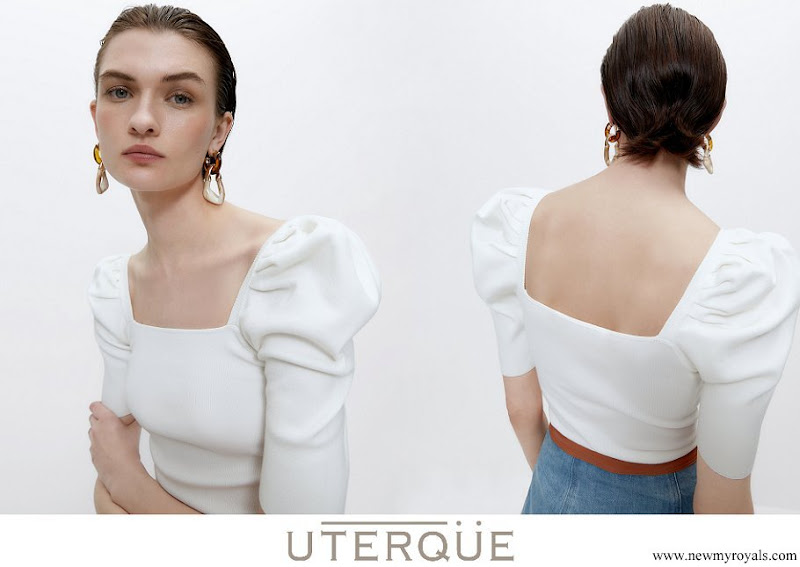 Queen Letizia wore Uterque sweater with square neckline