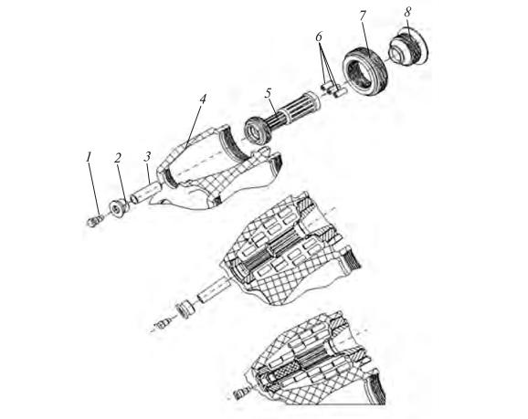 Схема збирання імпульсних твердопаливних ракетних двигунів