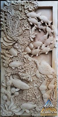 Relief pemandangan dasar laut yang dibuat dari batu alam paras jogja, batu alam paras putih.