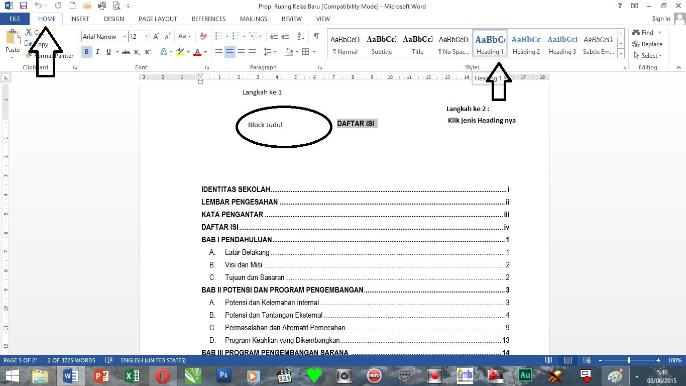 Cara Membuat Daftar Isi Otomatis Di Word 2013