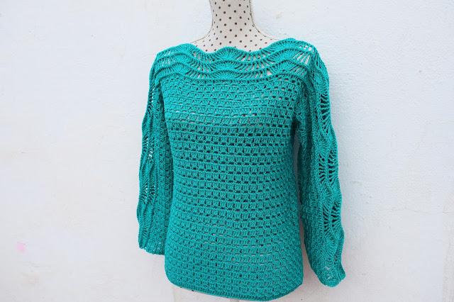 6 - Crochet Imagen Blusa verde a crochet y ganchillo muy facil sencilla paso a paso por Majovel Crochet