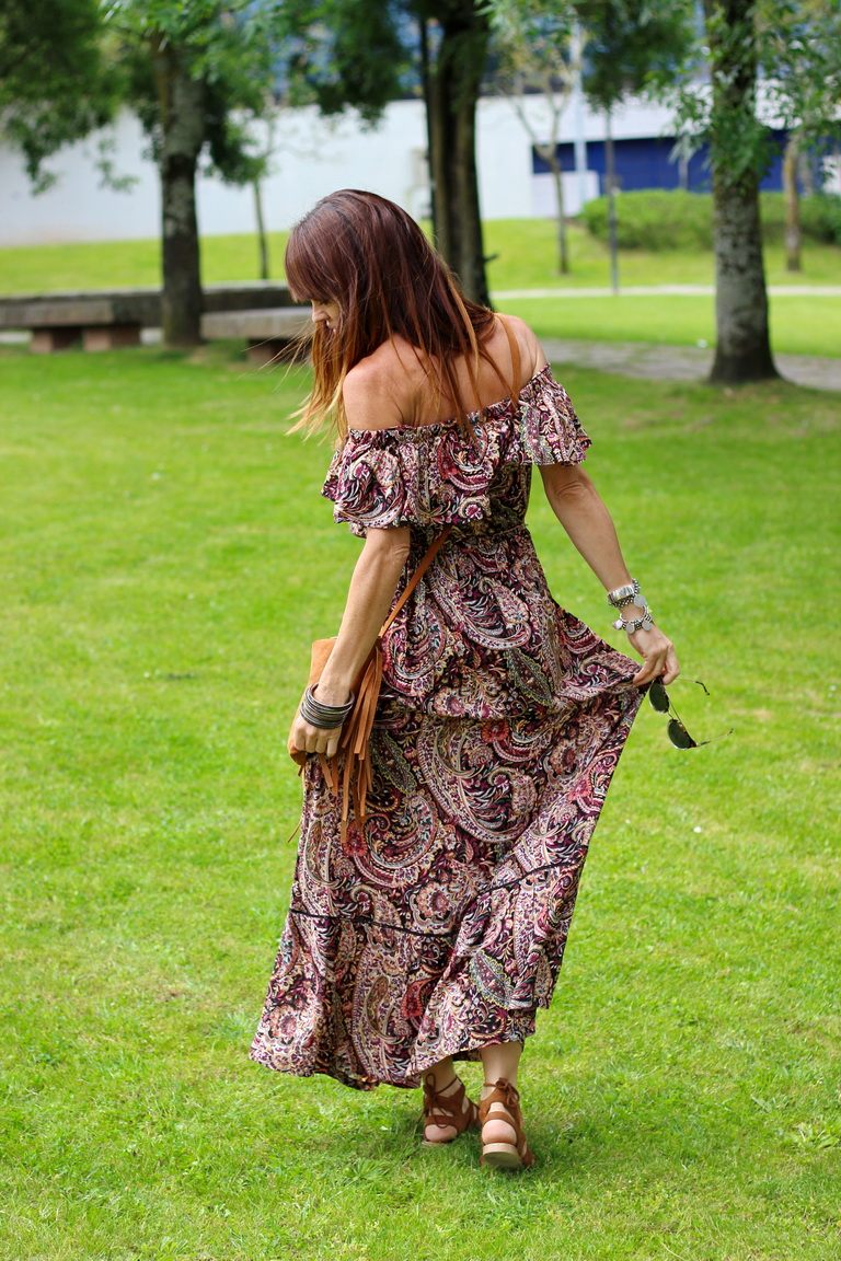 Maxi dress, Oysho, Vestido largo, sandalias romanas, Buffalo London, Long dress, blogger, fashion blogger