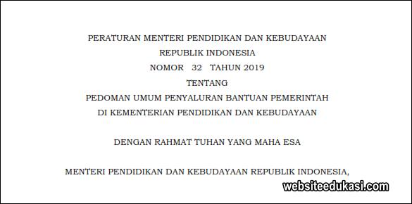 Pedoman Umum Penyaluran Bantuan Pemerintah di Kepmendikbud 2019