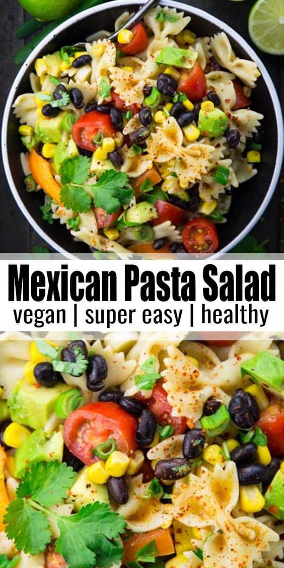 This Southwestern Pasta salad with avocado, black beans, and lime dressing is one of my new favorites. It's not only super easy to make, but also healthy. It's a great addition to any BBQs and potlucks!