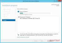 installtion progress - .NET Framework 3.5 on Windows Server 2012