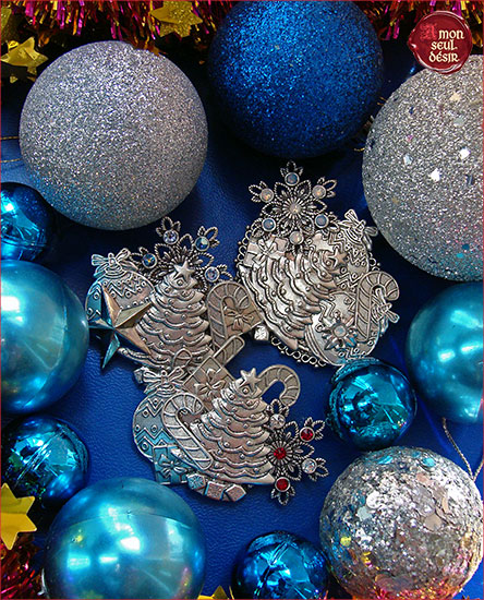 broche bijoux etoile flocon de nege sapin de noel christmas tree brooch silver magic Xmas jewelry