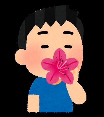 ツツジの蜜を吸う子供のイラスト