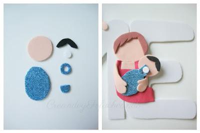 piezas para hacer el bebé del letrero con familia fofucha