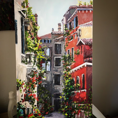 house portrait painting by Jen Beaudet Zondervan oil painting of buildings in Italy