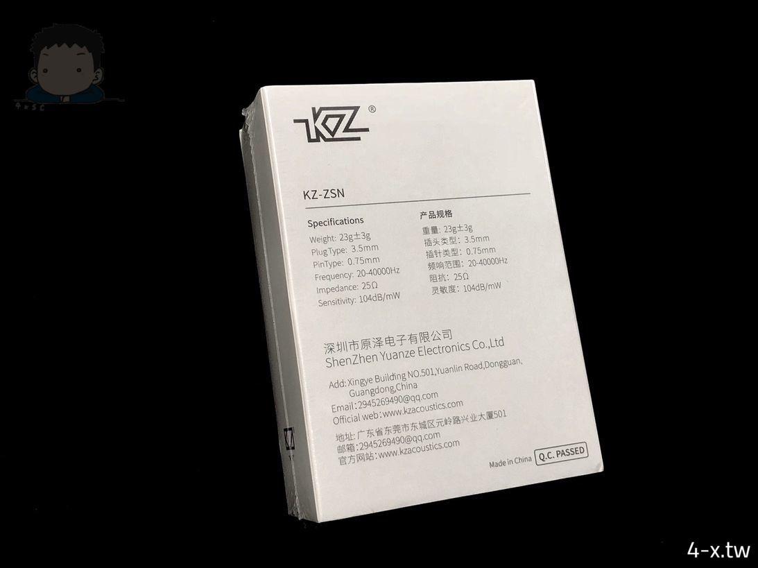 KZ ZSN 耳機外包裝 背面