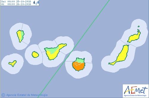Por lluvias se activa aviso naranja en sur,  cumbres, este y oeste de Gran Canaria, martes 25 octubre y miércoles día 26