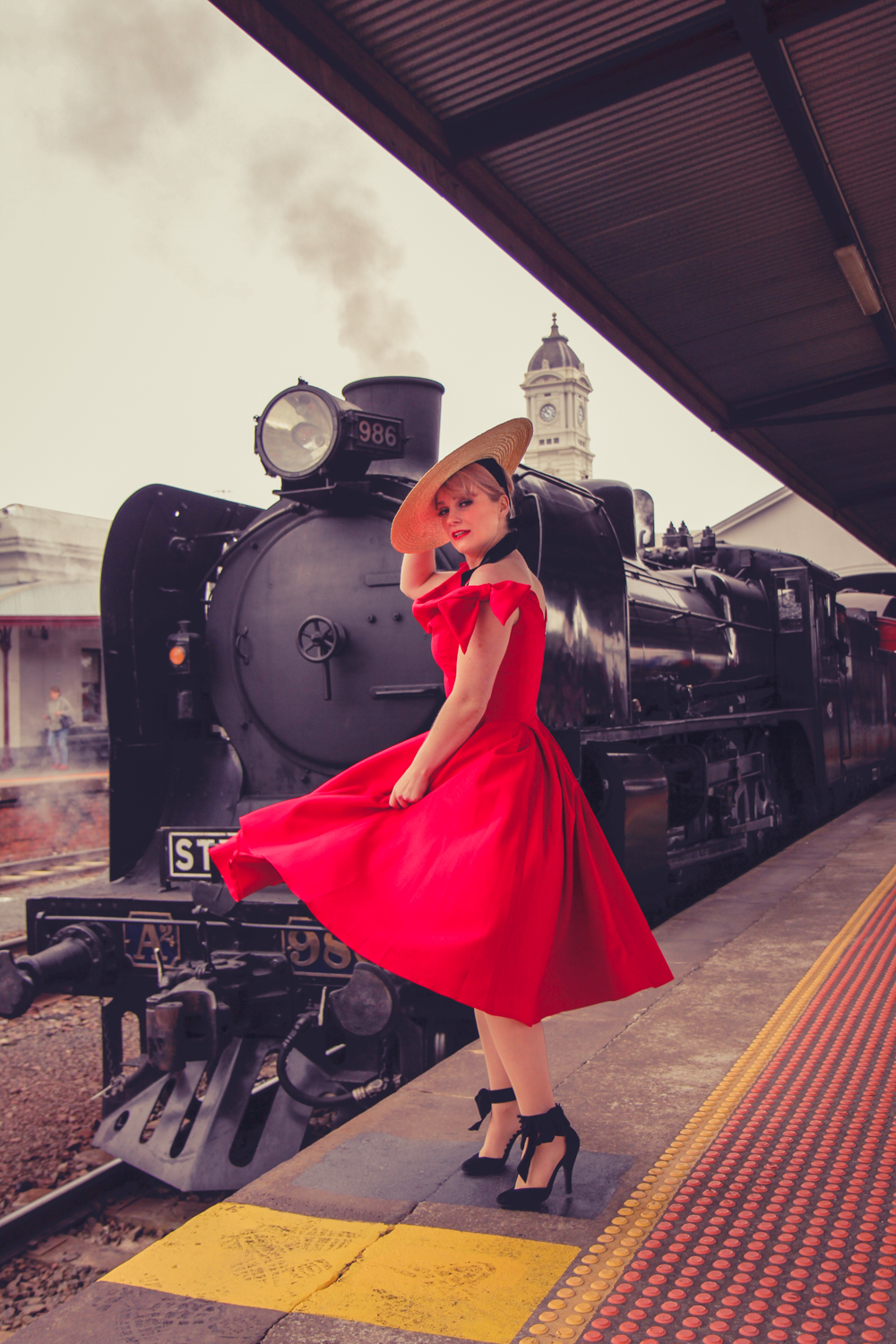Liana of @findingfemme in red The Pretty Dress company dress at Ballarat Heritage Weekend