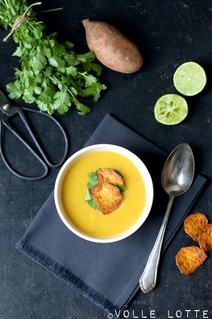 kochen, Suppe, Süßkartoffeln,Koriander, Kokosmilch, einfach, Kochrezepte