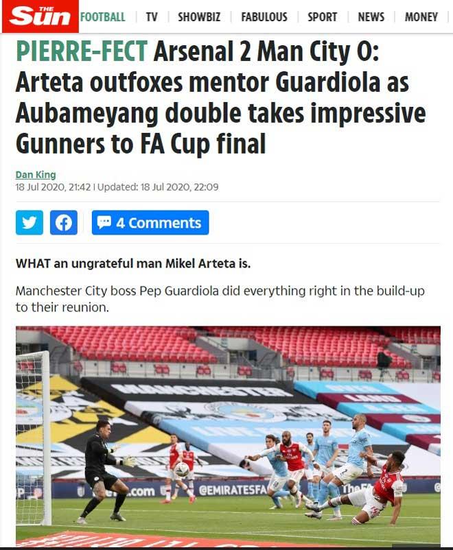 """Arsenal thắng Man City: Báo chí Anh """"hốt hoảng"""", khen Arteta quá """"cáo già"""" 2"""