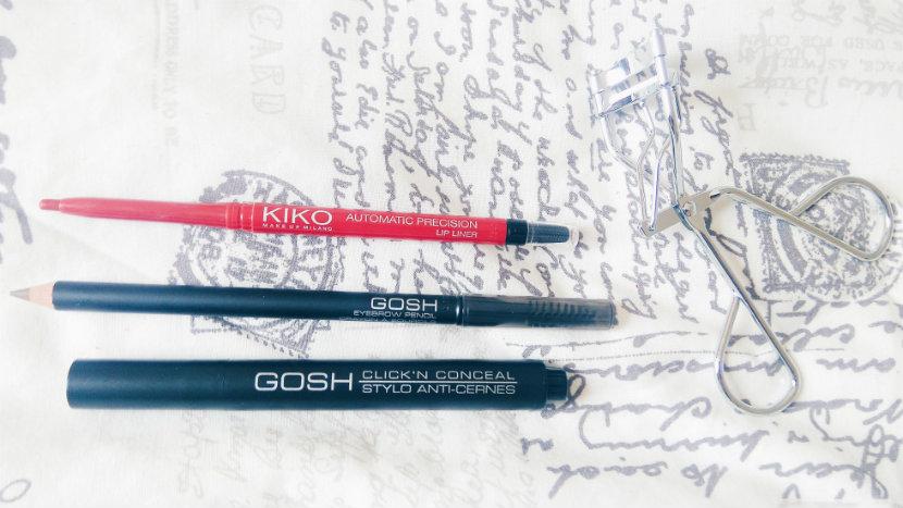 Kiko Lip Liner, GOSH Eyebrow Pencil, GOSH Concealer, Superdrug Eyelash Curler