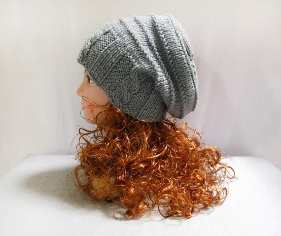f5d45a27453 Knitting pattern hand knit slouchy hat in grey wool