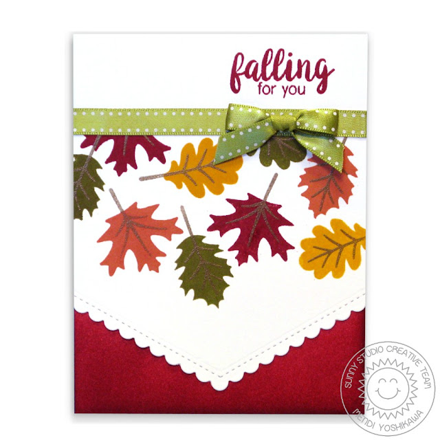 Sunny Studio Stamps: Autumn Splendor Fall Leaves Falling For You Card by Mendi Yoshikawa