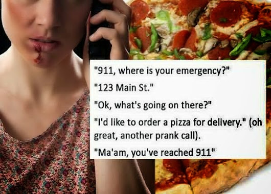 Emergency Hotline 911 receives a 'pizza order' from a lady who needs help