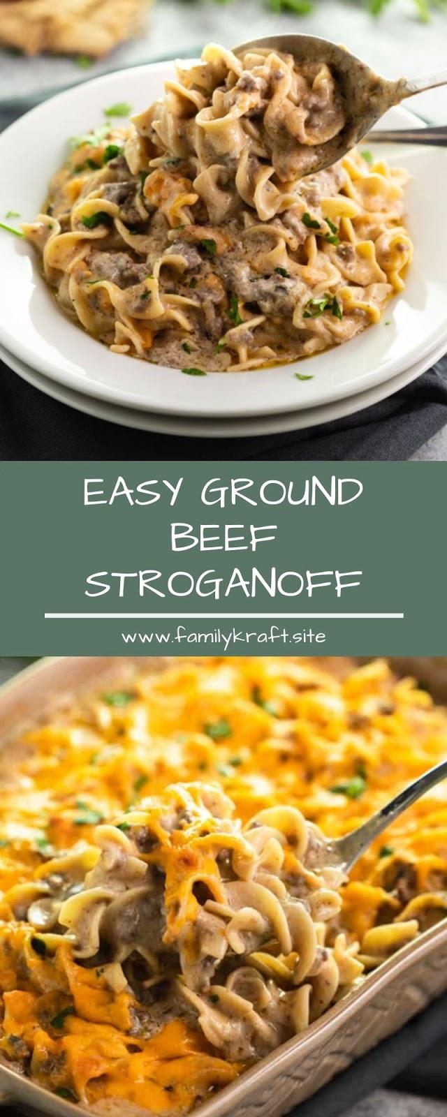 EASY GROUND BEEF STROGANOFF