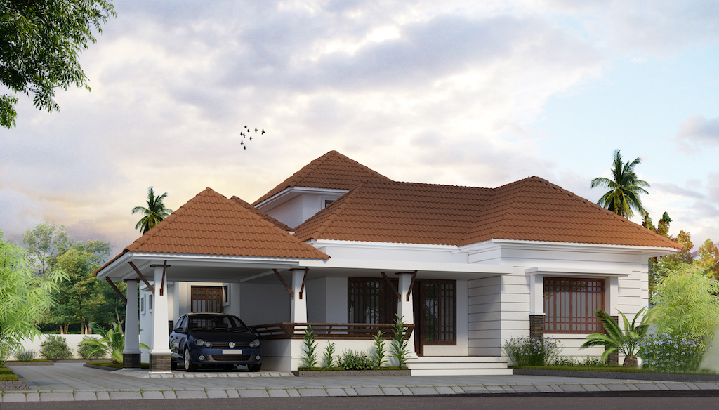 Kottayam style 3 BHK below 1800 sq ft single storey villa design