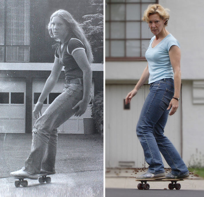 30 Beautiful Recreations Of Childhood Pictures - 1978 And 2008. This Was My First Board.