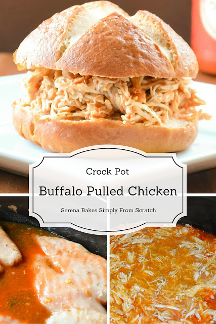 Crock Pot Buffalo Pulled Chicken so good and easy to make! The ultimate game day food for your Super Bowl party! serenabakessimplyfromscratch.com