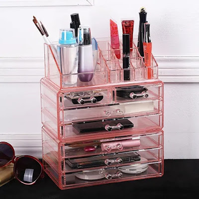 Acrylic Jewelry & Cosmetic and Makeup Storage Display Boxes Set in pink from Nile Corp