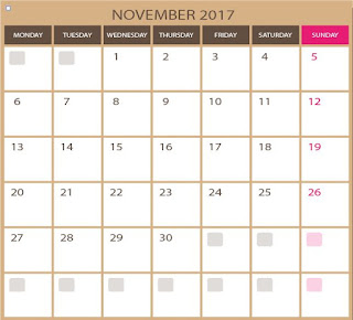 vector for free - blank calendar for November 2017 - printable and editable  photoshop EPS and illustrator ai images qualities. Downloads for free