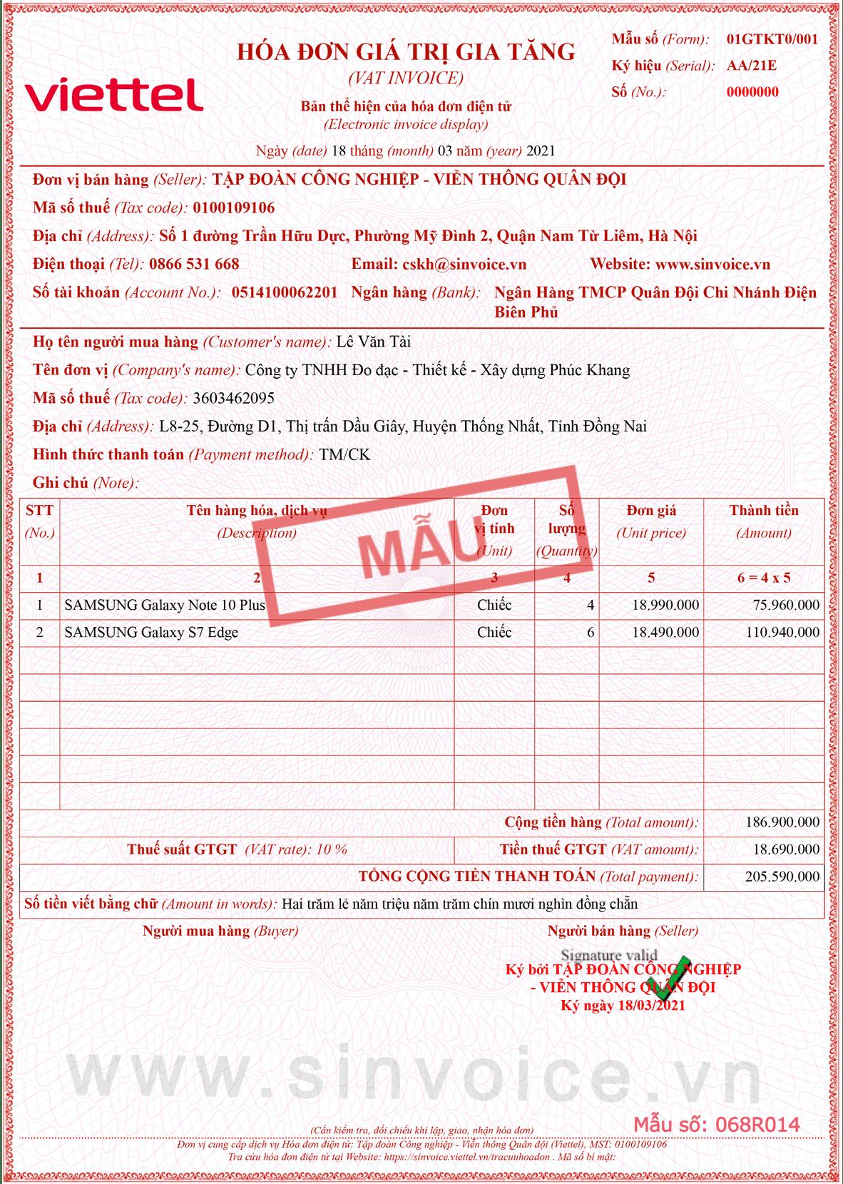 Mẫu hóa đơn điện tử số 068R014