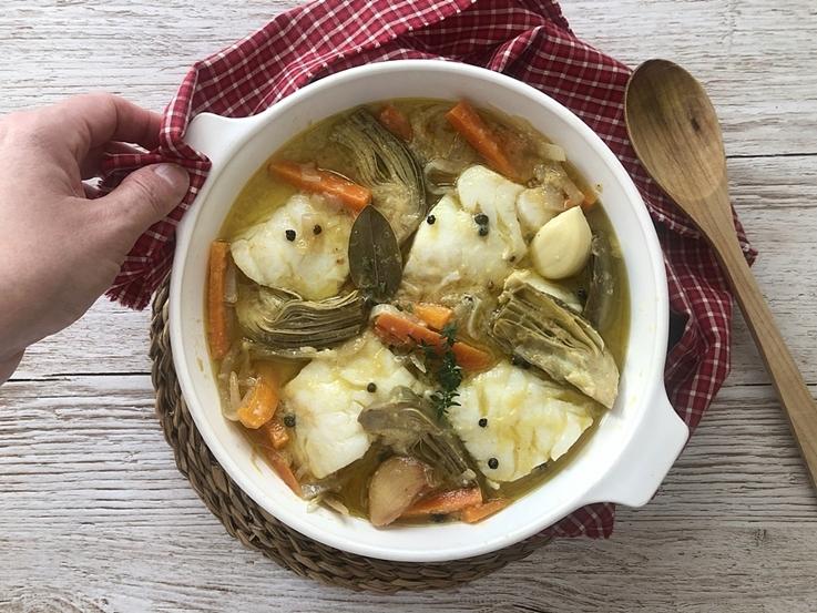 Escabeche de bacalao con verduras