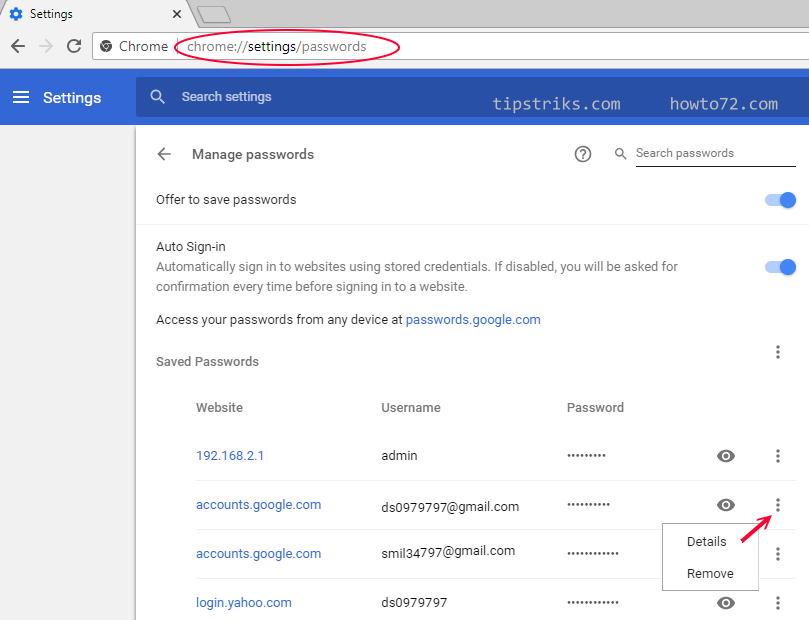 manage passwords in chrome disabled