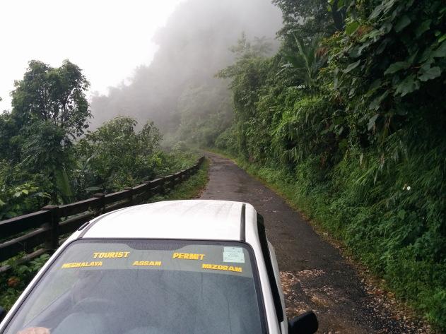 A drive in the clouds at Cherrapunji, Meghalaya