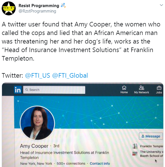 "Company reacts as their staff Amy Cooper was caught on video lying that an ""Africa American man"" is threatening her life"