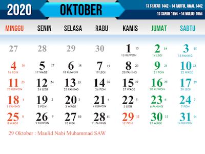 Contoh Kalender Islam tahun 2020