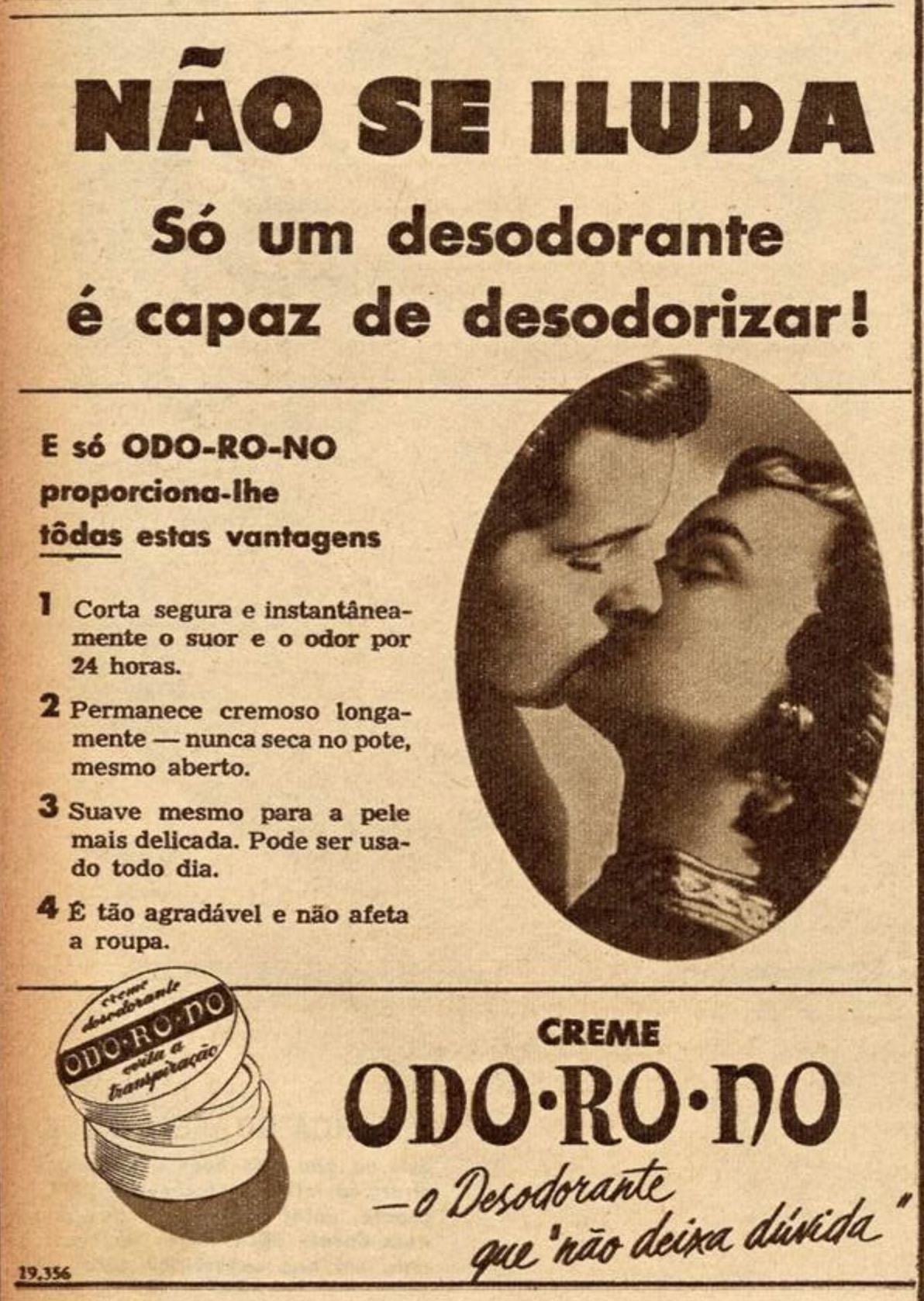 Propaganda antiga de creme antitranspirante Odo-Ro-No veiculada em 1952