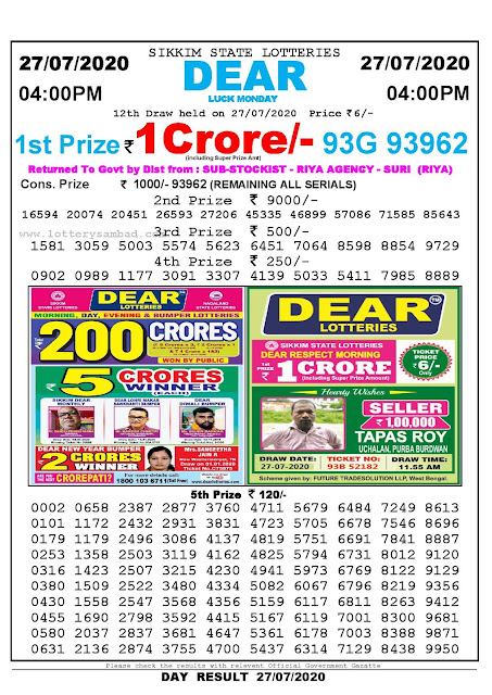 Sikkim State Lotteries 27-07-2020 Lottery Sambad Result 04:00 PM