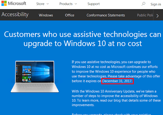 Pagina internet Microsoft di aggiornamento a Windows 10 via tecnologie assistive
