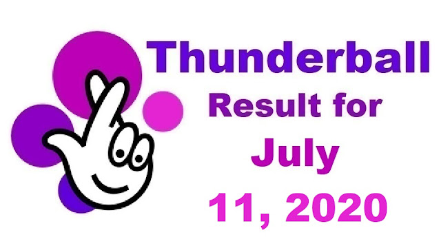 Thunderball Results for Saturday, July 11, 2020