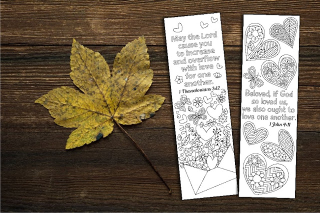 bible coloring bookmarks with hearts