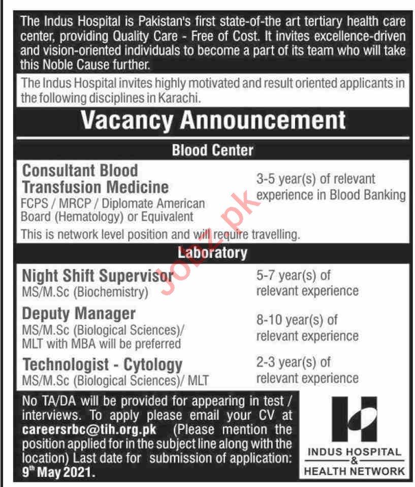 The Indus Hospital TIH Karachi Jobs 2021 in Pakistan